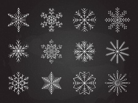 Icy snowflakes winter decoration collection vector illustration. Set of chalk sketch white snowflake icons on blackboard for new year celebration design or winter season festive ornament decoration Illustration
