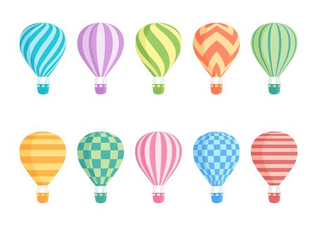 Hot air balloon isolated colorful vector set. Collection of colourful balloons with patterns zig zags, wavy lines, striped or checkered with basket and hot air in retro style for flight concept design Vetores