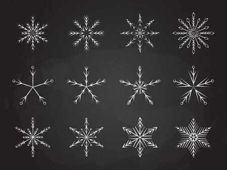 Frozen snowflake symbol collection vector illustration. Chalk style line white snowflakes isolated on blackboard for abstract christmas celebration design or winter season decoration ornament