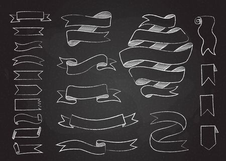 Chalk hand drawn banner collection vector illustration. Chalkboard background with vintage elegant set of hand drawn curved shape banners, swirl and curl ribbons for reto menu decoration design Illustration