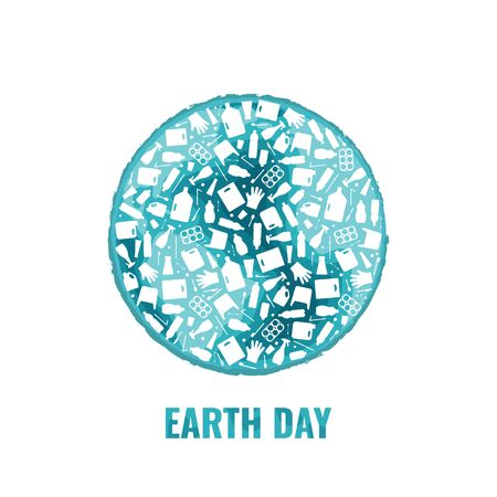 Earth day concept plastic trash planet pollution vector illustration. Round earth globe filled with plastic waste flat icons. Environmental protection concept, Earth plastic pollution problem graphic