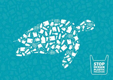 Rifiuti di plastica oceano ambiente problema concetto illustrazione vettoriale. Il profilo del rettile marino della tartaruga ha riempito di icone piane della spazzatura di plastica. Grafica di stile di vita sostenibile, concetto di protezione ambientale