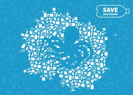 Stop ocean plastic pollution concept vector illustration. Octopus marine mollusc silhouette cut in plastic trash flat icon spot. Prevent ocean pollution ecology concept, sustainable lifestyle graphic.