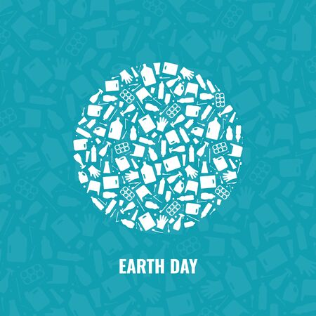 Earth day concept plastic waste planet pollution vector illustration. Round earth globe filled with plastic waste flat icons. Environmental protection concept, Earth plastic pollution problem graphic