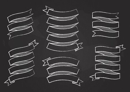 Chalk outline ribbon banner vector set illustration. White chalk style curved shape ribbons, scroll flags or curled labels with blank space for message, isolated on blackboard for premium offer
