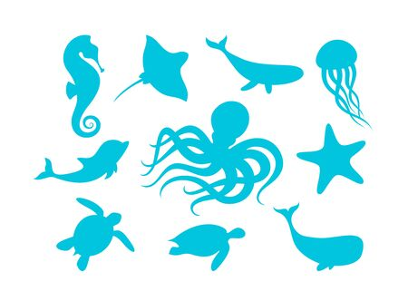 Marine animals outline set vector illustration. Isolated silhouettes of marine mammals and fishes collection on white background. Blue whale, octopus and turtle, dolphin, ray and seahorse.