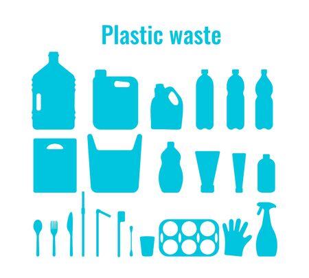 Contenitori di plastica e piatti monouso impostare illustrazione vettoriale. Raccolta di simboli del problema dei rifiuti di plastica. Pacchetto di plastica, piatti e contenitori delineano le icone per il concetto di inquinamento oceanico della giornata della terra
