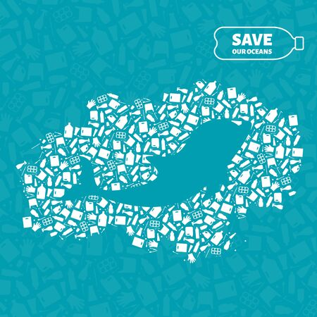 Plastic waste ocean environment problem concept vector illustration. Dolphin marine mammal silhouette cut in plastic trash flat icon spot. Sustainable lifestyle graphic, zero waste concept. Illustration