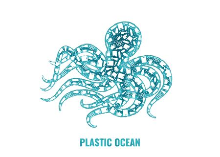 Plastic trash planet pollution concept vector illustration. Octopus marine mollusc outline filled with plastic trash flat icons. Single use plastic ecology crisis, marine animal life damage banner.