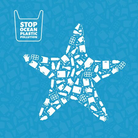 Stop ocean plastic pollution concept vector illustration. Starfish marine animal silhouette filled with plastic garbage flat icons. Global environmental problem, prevent ocean pollution concept 矢量图像