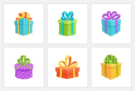 Birthday gift box or surprise present collection isolated vector illustration. Set of cartoon giftboxes with colorful wrapping paper and cute ribbon bows. Christmas gift package or prize box design