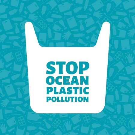 Stop ocean plastic pollution concept vector illustration. Single use plastic bag with sign on trash background Prevent ocean pollution ecology concept, sustainable lifestyle graphic. 矢量图像