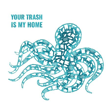 Stop ocean plastic pollution concept vector illustration. Octopus marine mollusc outline filled with plastic trash flat icons. Prevent ocean pollution ecology concept, sustainable lifestyle graphic.