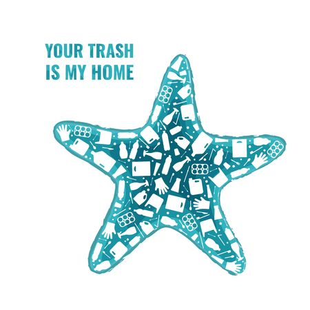Plastic trash planet pollution concept vector illustration. Starfish ocean animal outline filled with plastic waste flat icon. Environmental protection concept, microplastic pollution problem graphic