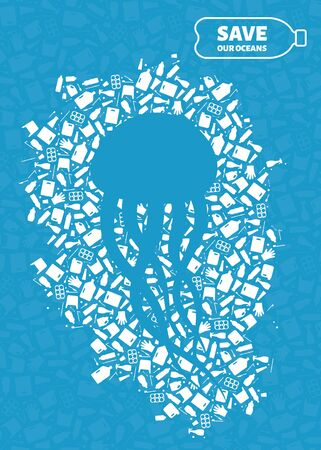 Plastic trash planet pollution concept vector illustration. Jellyfish marine animal silhouette cut in plastic trash flat icon spot. Single use plastic ecology crisis, marine animal life damage banner.