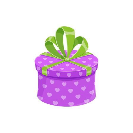 Birthday party or christmas gift box isolated vector illustration. Cartoon round giftbox with violet wrapping paper, green ribbon and bow. Contest winner prize box or reward celebration gift package 矢量图像