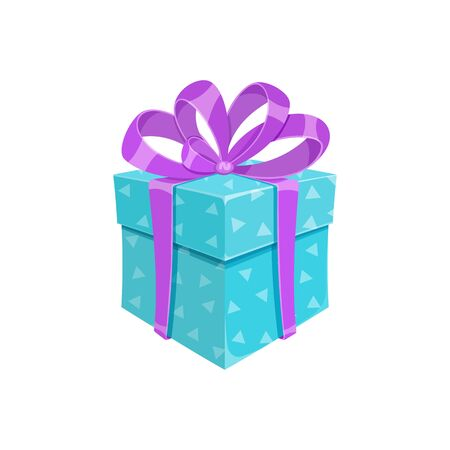Birthday party or christmas gift box isolated vector illustration. Cartoon square giftbox with blue wrapping paper, violet ribbon and bow. Contest winner prize box or reward celebration gift package