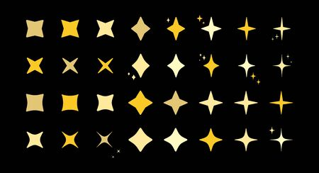 Star burst sparkle art deco pattern icon set. Gold star shaped twinkle pattern collection isolated on blue background. Christmas festive graphic design, celebrate carnival shine decoration