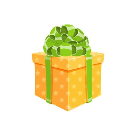 Birthday present or surprise party gift box isolated vector illustration. Cartoon cube giftbox with yellow wrapping paper, green ribbon and cute bow. Christmas gift package or anniversary box design