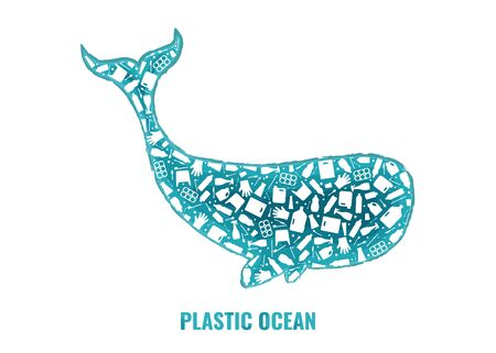 Stop ocean plastic pollution concept vector illustration. Whale marine mammal outline filled with plastic trash flat icons. Prevent ocean pollution ecology concept, sustainable lifestyle graphic.
