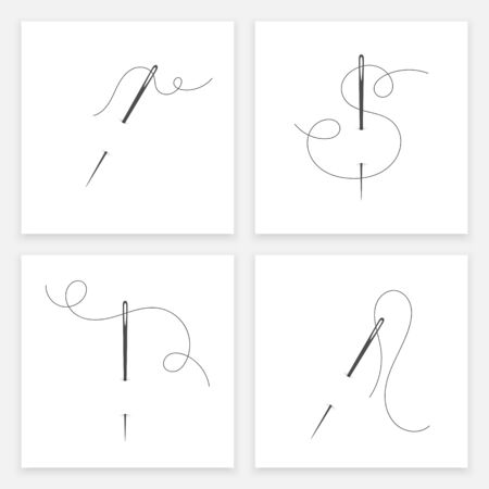 Needle and thread silhouette icon set vector illustration. Tailor logo with needle symbol and curvy thread collection isolated on white background. Tailor sign template, sewing instrument icon design 矢量图像