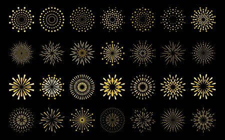 Star shape gold fireworks explosion pattern set. Flat art deco style star shaped firework pattern collection isolated on black background. Christmas festive graphic design, carnival shine decoration