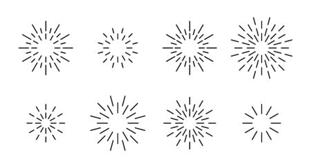Star shape outline fireworks explosion pattern set. Black line star shaped firework pattern collection isolated on white background. Christmas festive graphic design, celebrate carnival decoration