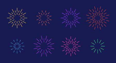 Celebration star fireworks burst pattern set. Flat colorful star shaped firework pattern collection isolated on blue background. New year celebration decoration, birthday party festive graphic design