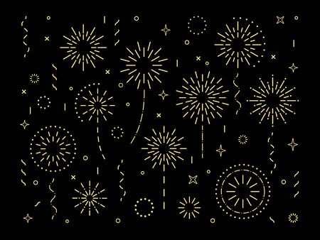 Abstract gold burst pattern fireworks set. Art deco star shaped firework pattern collection isolated on black background with rays and trails. Carnival celebration firecracker explosion,