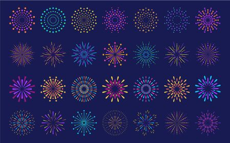 Abstract burst pattern fireworks set. Flat colorful star shaped firework geometric pattern collection isolated on blue background. Carnival celebration explosion, birthday party festive decoration,