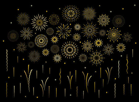Abstract burst gold pattern fireworks set. Art deco star shaped firework pattern collection isolated on black background with rays and trails. Birthday party or carnival festive decoration, 矢量图像