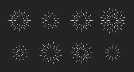 Chalk style star fireworks burst pattern set. White chalk line star shaped firework pattern collection isolated blackboard. New year celebration decoration, birthday party festive graphic design 矢量图像