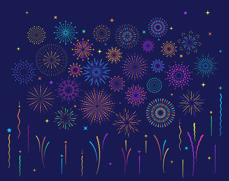 Star shape colorful fireworks explosion pattern set. Flat composition of firework pattern collection isolated on blue background with rays and trails. Celebrate carnival shine decoration
