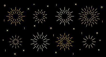 Sparkle star shape art deco fireworks burst pattern collection. Gold star shaped firecracker pattern collection isolated on black background with rays and trails. Carnival celebration fireworks burst