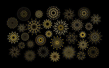 Sparkle art deco star shape fireworks burst pattern collection. Gold star shaped firework pattern isolated collection. Carnival celebration firecracker explosion, birthday party festive decoration. 矢量图像