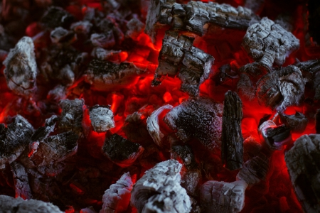 embers: The texture of the dying coals in the fire Stock Photo