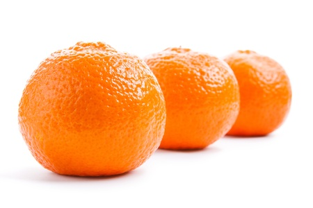 Three mandarin isolated on white background in perspective Stock Photo - 17918037