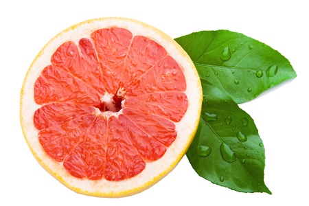 Half a grapefruit, two wet leaf on a white background
