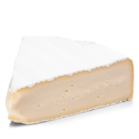 A piece of brie cheese on a white background Stock Photo