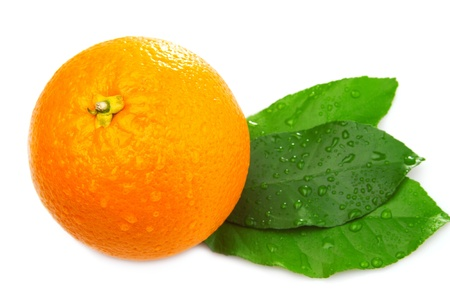 Whole orange and three leaf on a white background. top view