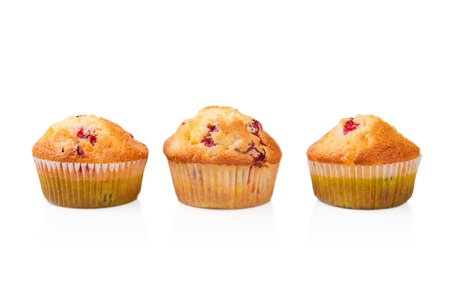 Three cupcakes lined line. Isolated on white background