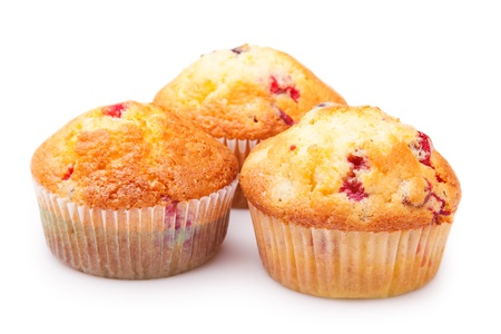 Three cupcakes closeup. Isolated on white background Stock Photo