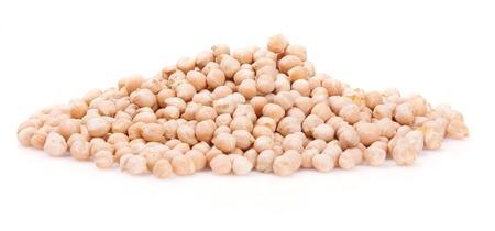 A lot of raw chickpeas on a white background Stock Photo