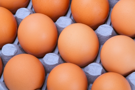 Brown chicken eggs in blue tray Stock Photo