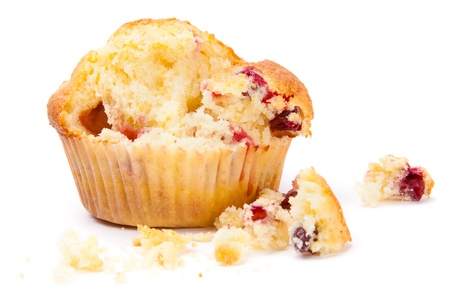 Cranberry muffin break  Isolated on white background