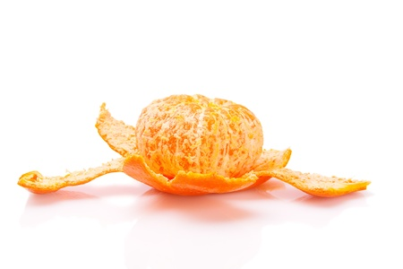 Ripe tasty tangerines with pee  lsolated on white Stock Photo