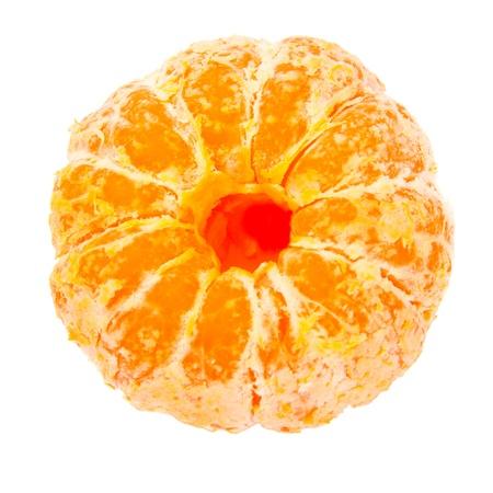 Ripe peeled tangerine on a white background  Close-up