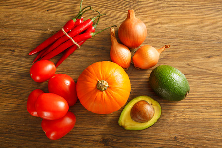 Fresh and healthy vegetables on a wooden table Stock Photo