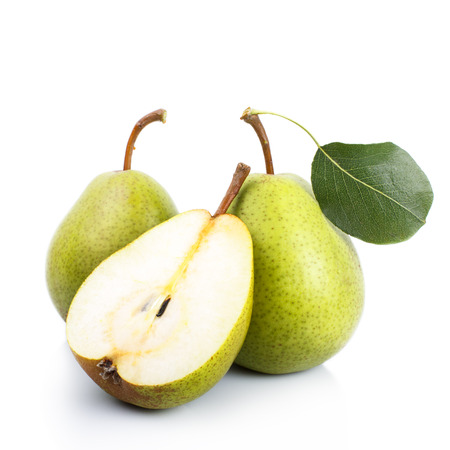 two and a half: Ripe two and a half green pears over white background