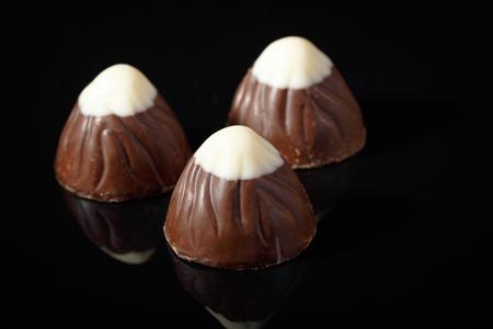 chocolate candies, truffle wiht white chocolate on top